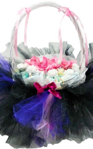 kislány lila-fekete tüllszoknyás pelenkakosár
