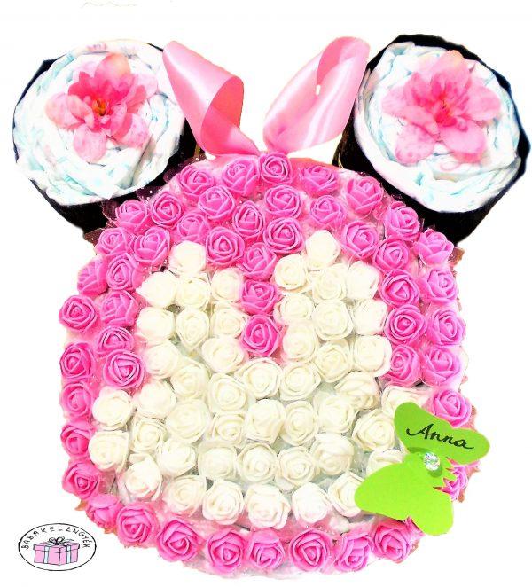 minnie mouse rózsaszín pelenkatorta 3