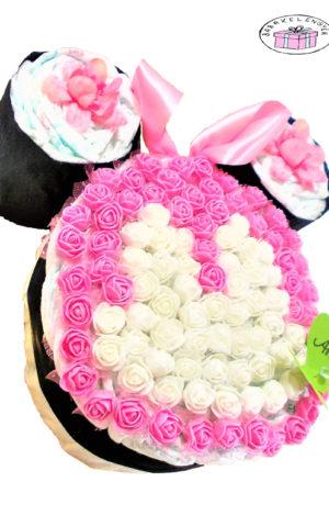minnie mouse rózsaszín pelenkatorta